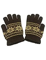 Graceway Unisex Woollen Gloves (GL5, Brown, Free Size)