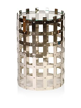 Prima Design Source Metal Strap Table with Beveled Glass, Silver