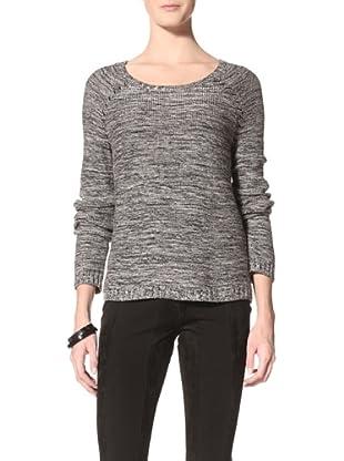 Suss Knitwear Women's Cindy Tweedy Boxy Boatneck (Black/Cream)