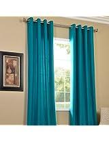 Pindia 1 PC Faux Silk Eyelet Window Curtain, Polyester Plain Ringtop - 5 ft, Aqua