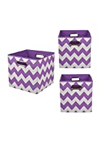 Modern Littles Organization Bundle Storage Bins, Color Pop Purple Chevron, 3 Count