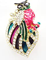 Khubsurat Owl Concept Saree Pin & Brooch, Multi Color Enameled & Stone Stud, Gold Tone For Men & Women