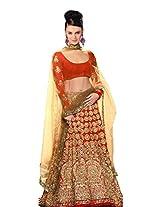 Meghalya Red Color Georgette Navratri Special Women's Lehenga Choli (Semi Stitched)