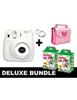 Fujifilm Instax Mini 8 - White + 40 Pack Instax Film + Butterfly Pink Gm Bag + White Selfie Mirror