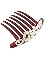 8 Republic London Mother's Day Special Pearls & Rhinestone Maroon Hair Comb For Women