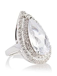 CZ by Kenneth Jay Lane Pave Edged Pear Ring, Silver, Size 7