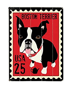 Artehouse Boston Terrier Postage Stamp Wood Wall Décor (Red/Black)