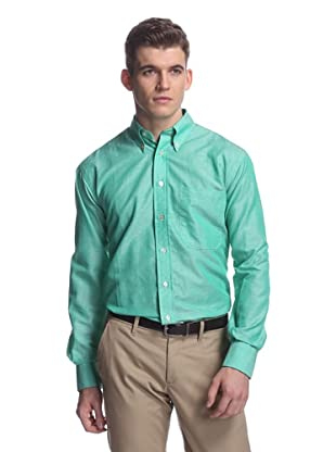 Oxxford Men's Sport Shirt with Button-Down Collar (Green)