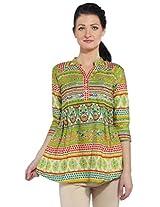 Bombay fashions women's green cotton printed kurti