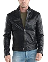 Iftekhar Men's Pure leather Jacket - Black - (Iftekhar39 - L)