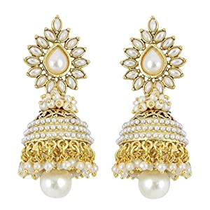 Muchmore Brass Jhumki Earring For Women (White)