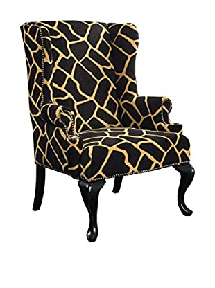 Artistic Tiga Glam Upholstered Armchair, Black/Cream