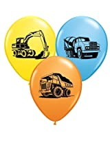 """Trucks & Diggers Assorted Color 11"""" Latex Balloons Package Of 12"""