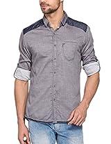 SPYKAR Men Cotton Lt.Grey Casual Shirt (Medium)