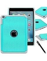 iPad Mini 4 case - E LV iPad Mini 4 Case Cover - Hybrid Armor Protection Defender Smart Case Cover Shell for Apple iPad Mini 4 - TEAL / MINT