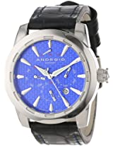 Android Caprice 9100 AD653ABU 47MM Multifunction Automatic Analog Blue Dial Men's Black Leather Watch
