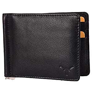 Hidekraft Unisex Black Leather Money Clip