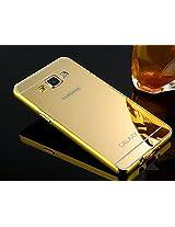 Kapa Luxury Mirror Effect Acrylic back + Metal Bumper Case Cover for Samsung Galaxy J7 - Gold