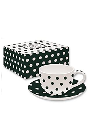 Easy Life Design Tazza da Tè con Piatto in Porcellana Bone China Happy Pois (Nero)