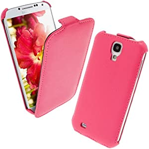 iGadgitz Pink Leather Flip Case Cover Holder for Samsung Galaxy S4 IV I9500 Android Smartphone Cell Phone. With Sleep/Wake Function.