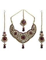 DollsofIndia Faux Garnet and Cubic Zirconia Necklace Set with Mang Tika - Stone, Bead and Metal - White, Maroon
