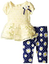 Youngland Baby-Girls Newborn Lace and Organza Dress with Daisy Leggings, Yellow/Navy, 3-6 Months