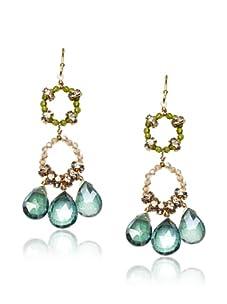 Diane Yang Green Chandelier Earrings