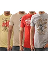 Funktees 100% Cotton Mens Round Neck L Size T-shirt - Pack of 4