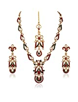 I Jewels Traditional Gold Plated Elegantly Handcrafted Kundan & Stone Jewellery Set with Maang Tikka for Women L3084MG (Maroon & Green)