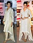Deepika Padukone Cotton Thread Work White Bollywood Style Anarkali Suit