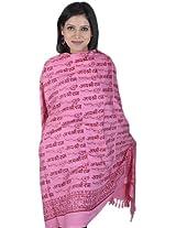 Exotic India Pink Jai Shri Rama Sanatana Dharma Prayer Shawl - Pink