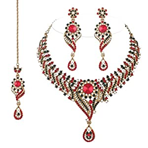 I Jewels Traditional Gold Plated Bridal Jewellery Set with Maang Tikka For Women (Red & Green)(M4025RG)
