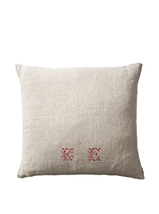 Vintage Hungarian Seed Bag Fabric Pillow, Red