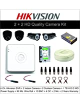 4CH HIKVISION HD QUALITY DVR + 2 DH QUALITY IR 1200TVL CAMERA