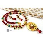 Lakshmiji designer neclace with ethnic green palakka finish