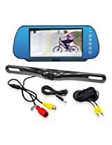 Pyle PLCM7800 Vehicle Backup Camera & Mirror Monitor Parking/Reverse Kit, License Plate Mount Waterproof Night Vision Angle Adjustable Cam, 7'' Display Built-into Mirror Assembly