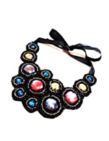 Daamak Stone Emblished Bib Statement Necklace - Black for women