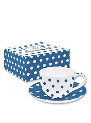 Easy Life Design Tazza da Tè con Piatto in Porcellana Bone China Happy Pois (Blu)
