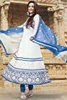 White Faux Georgette & Net Anarkali Suit