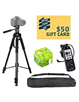 Professional 70 Inch Multi Bubble Level Tripod With Carrying Case & Strap + EBenk LANC Zoom 8 Function Remote Controller (Replaces Sony RM-1BP RM1BP)for The SONY HDR-UX1 UX5 UX7 SR5 SR8 HC1 HC7 HC3 DSR-FX1 FX7 DCR-PD170 PD150 VX2100 VX2000 FX1000 SR8 SR200 SR300 CX7 Includes Bonus Hot Shoe Three Axis Triple Bubble Spirit Level