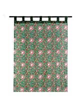 Door Curtain Cotton Ram Printed - Green and Pink
