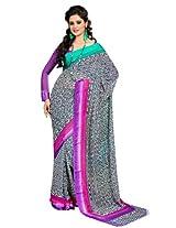 Fabdeal Branded Indian Women Sari Printed White & Pink