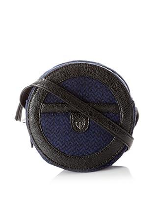 Charlotte Ronson Women's Patent/Herringbone Wool Canteen (Blue/Pebble)