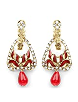 Red Stone & White Stone Red Enamel Gold Plated Peacock Shape Dangle Earrings