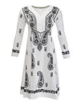 PR Chikans Women's Cotton Kurti (PR423, White, 38)