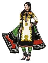 Jevi Prints Beige & Black Cotton Printed Unstitched Dress Material