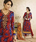 Fashioncraft Lisa Haydon Blue & Red Printed Pashmina Cotton Casual Wear Suit