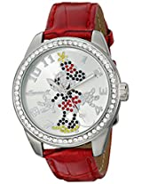 "Ingersoll Women's IND 25655 ""Disney Classic"" Crystal-Accented Watch with Red Leather Band"