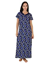 Fasense Exclusive Women Cotton Nightwear Long Nighty, DP159 (Medium, Blue Multi)