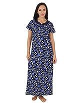 Fasense Exclusive Women Cotton Nightwear Long Nighty, DP159 (Medium, Blue Multi)